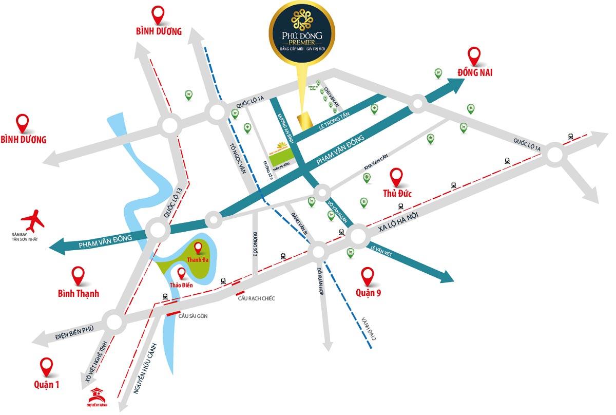 Bản đồ vị trí của chung cư căn hộ Phú Đông Premier