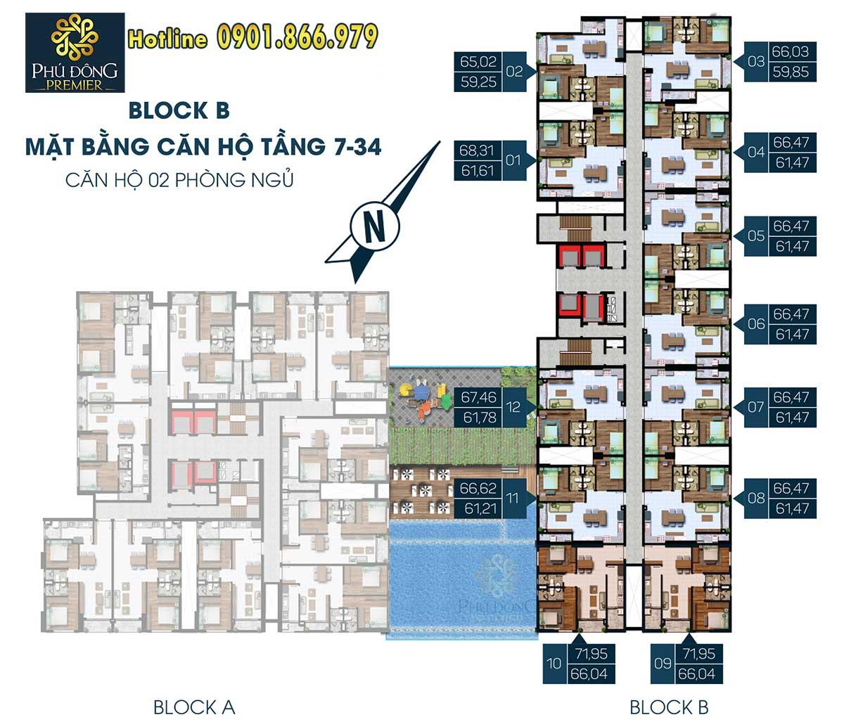 Mặt bằng căn hộ Phú Đông Premier mẫu 2 phòng ngủ Block B