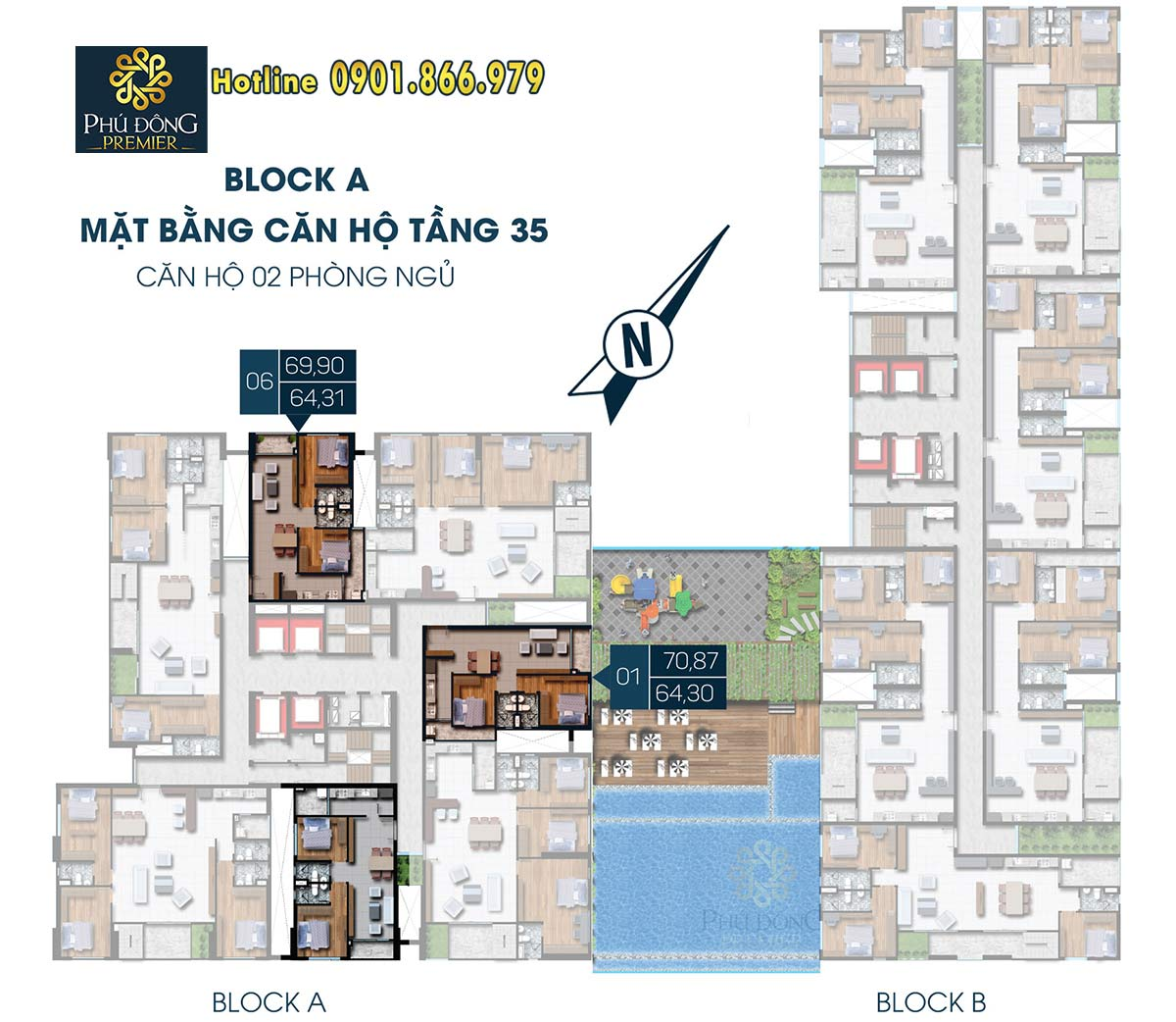 Mặt bằng mẫu Penhouse căn hộ Phú Đông Premier Block A