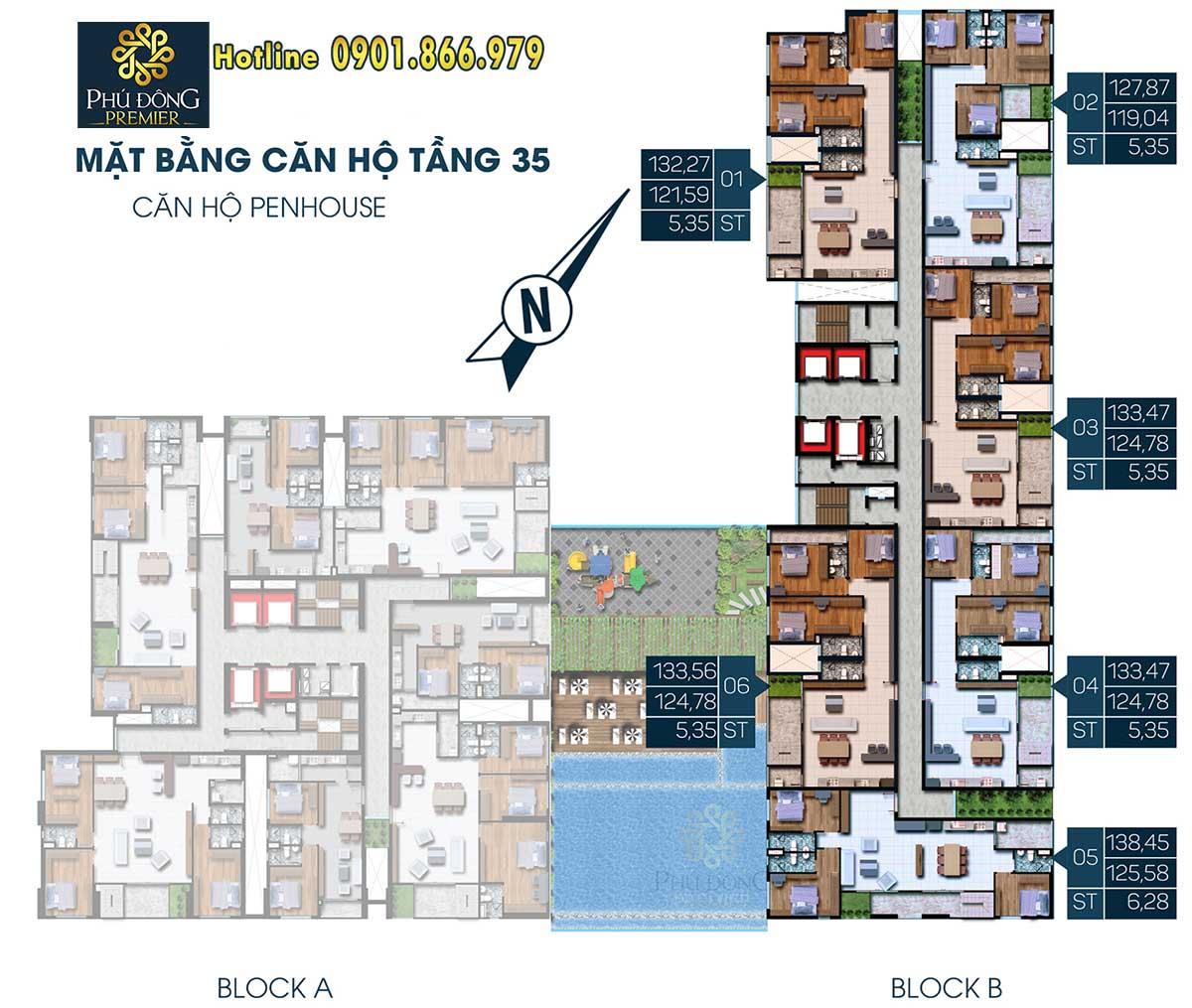 Mặt bằng mẫu Penhouse căn hộ Phú Đông Premier Block B