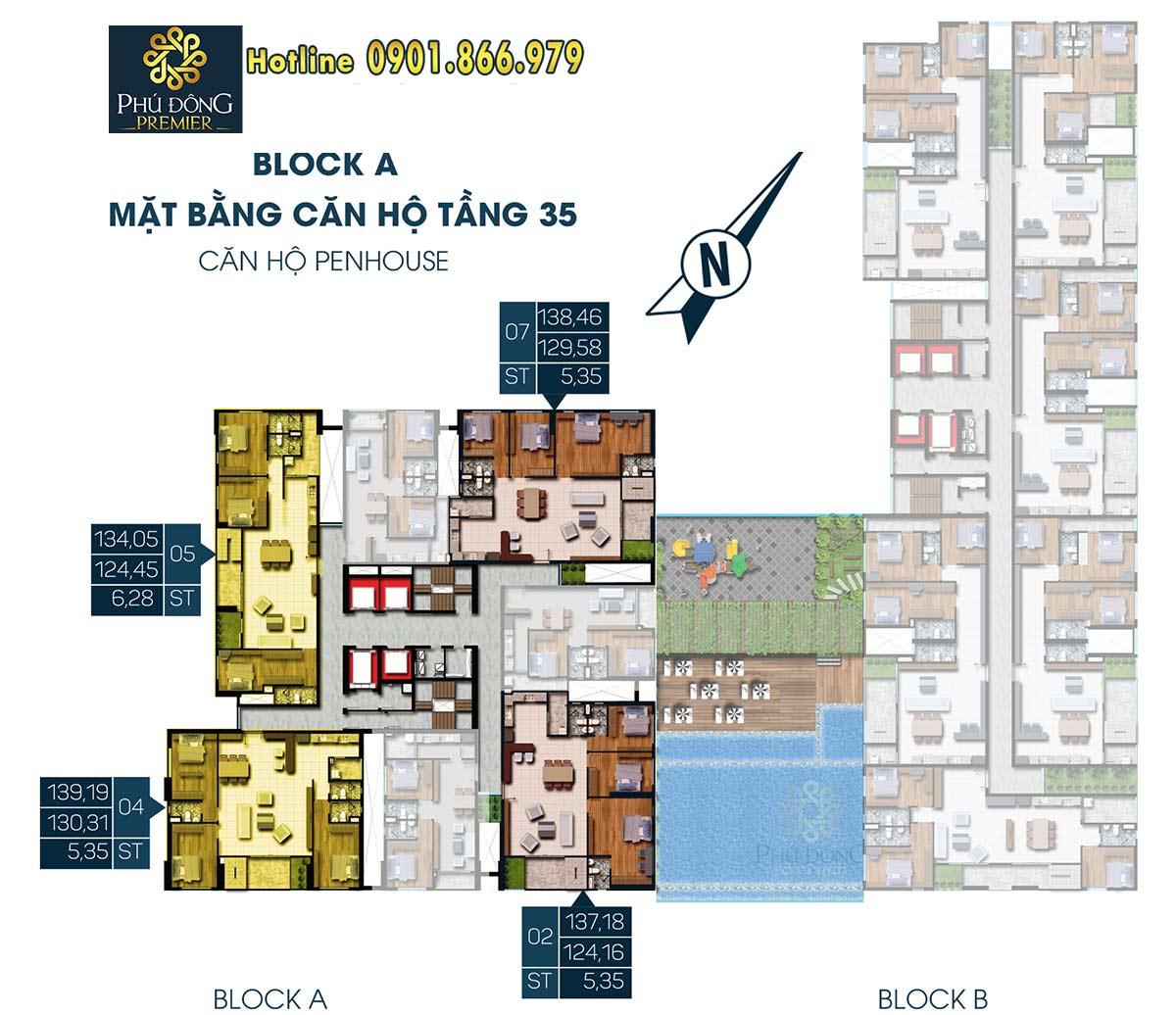 Mặt bằng Penhouse tầng 35 căn hộ phú đông premier Block A