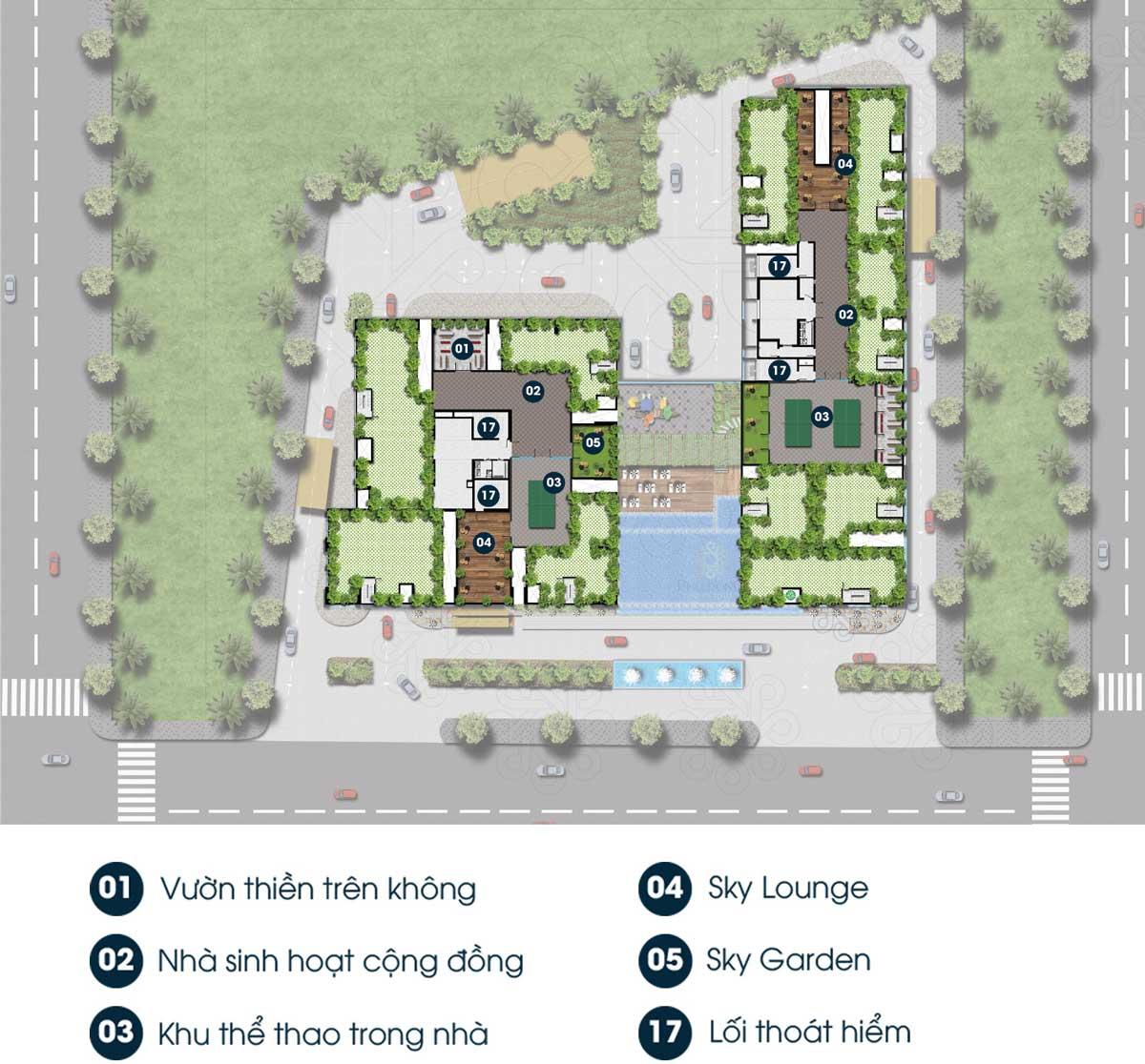 Sơ đố tiện ích căn hộ Phú Đông Premier ở sân thượng