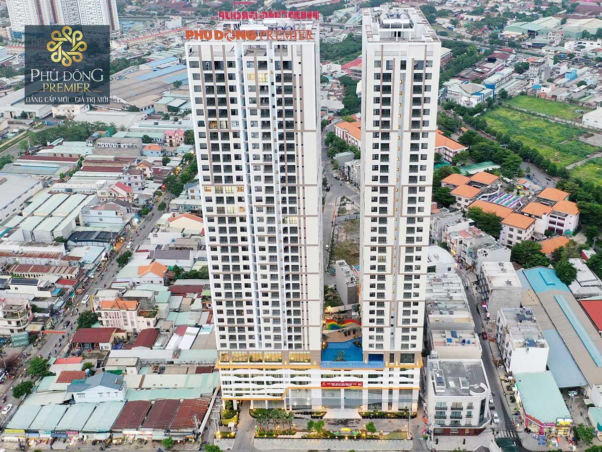 Toàn cảnh mặt tiền căn hộ chung cư phú đông premier